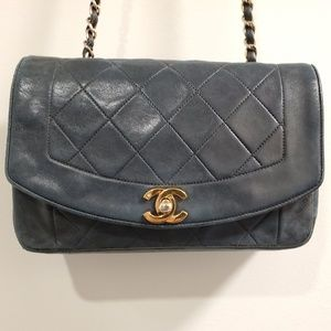 Authentic vintage Chanel blue leather bag purse